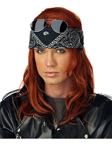 Adult 80s 1980s Axl Rose Rock Star Hollywood Rocker Fancy Dress Accessory Wig