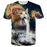 RAISEVERN Galaxy Funny Cat Vomiting a Waterfall onto Earth Vibrant Summer T Shirts Tees M