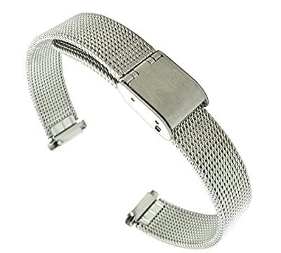 10-14mm Adjustable Metal Mesh Solid Buckle deployant clasp closure Watch Band Ladies Fits Skagen and Pebble Time Round watches. By United ...