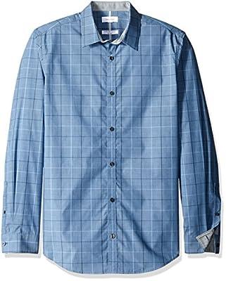 Calvin Klein Men's Window Plaid Infinite Cool Long Sleeve Button Down Shirt