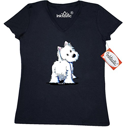 Inktastic Fluffy Butt Westie Women's V-Neck T-Shirts by KiniArt Small Black