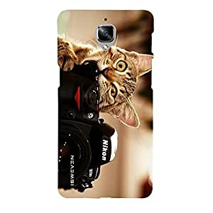 iSweven Printed _oneplus3_3186 Camara Cat Design Multicolored Matte finish Back case cover for one plus 3