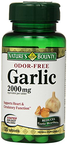 Nature's Bounty Garlic, 2000mg, Odor-Free, 120 Tablets (Pack of 4)