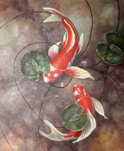 Cheap red koi fish in lily pond oil painting on for Cheap koi fish