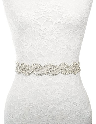 Wide Rhinestone beaded sash belt for brides wedding dress White satin ribbon