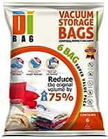 DIBAG ® Pack de 6 sacs de rangement sous vide économiseur d'espace 70x50 cm. pour les vêtements, couettes, literie, oreillers, rideaux.