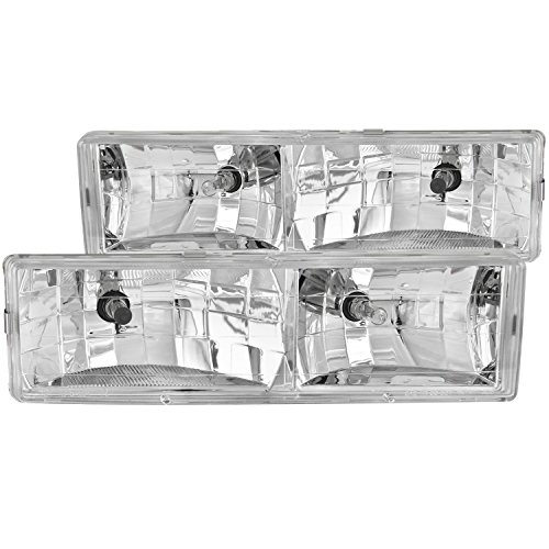 Anzo USA 111004 Chevrolet Crystal Chrome Headlight Assembly - (Sold in Pairs) (96 Gmc Yukon Headlight Assembly compare prices)