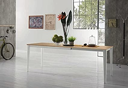 Zamagna - Tavolo allungabile Dom 140 Zamagna - Struttura: Alluminio laccato bianco - Piana: Melaminico bianco poro aperto