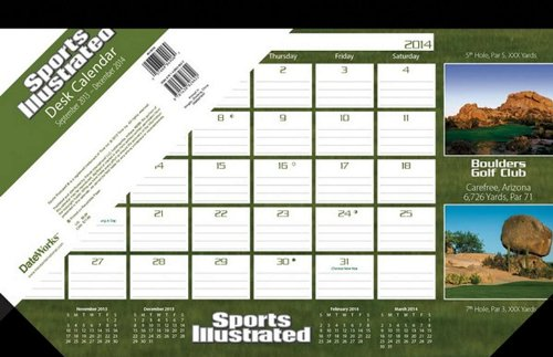 Sports Illustrated Golf Courses 2014 Desk Pad Calendar