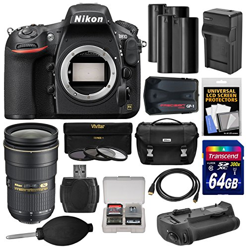 Nikon D810 Digital Slr Camera Body With 24-70Mm F/2.8G Lens + 64Gb Card + 2 Batteries/Charger + Case + Gps + Grip + Kit