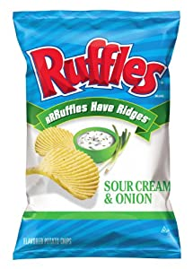 Ruffles Potato Chips, Sour Cream and Onion, 8.5 Ounce