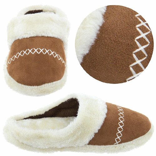 Image of Camel Slip On Slippers with Faux Fur for Women (B004F1LOSC)
