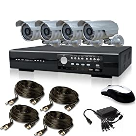 4DVRKIT- 4Ch H.264 Network Standalone CCTV Surveillance DVR + 4 x Color Security Cameras with 4x BNC and Power Cable and 12VDC Power Adaptor for 4 cameras