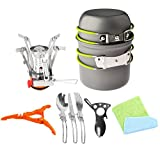 12pcs Camping Cookware Stove Canister Stand Tripod Folding Spork Set Bisgear(TM) Outdoor Camping Hiking Backpacking Non-stick Cooking Non-stick Picnic Knife Spoon, Bottle Opener, Dishcloth