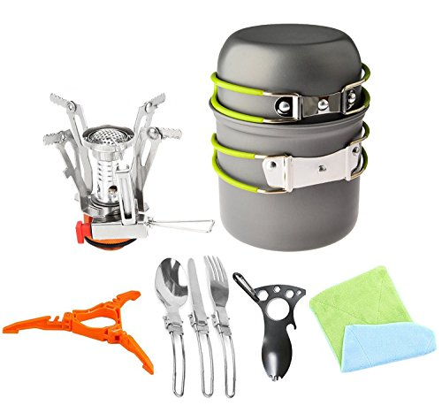 12pcs Camping Cookware Stove Canister Stand Tripod Folding Spork Set Bisgear(TM) Outdoor Camping Hiking Backpacking Non-stick Cooking Non-stick Picnic Knife