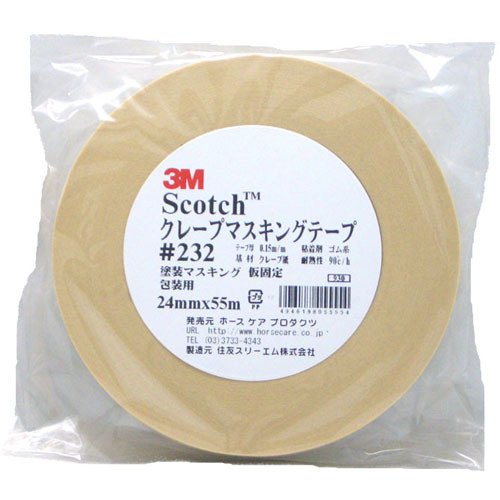 3M スコッチ クレープマスキングテープ #232 24mm×55m巻
