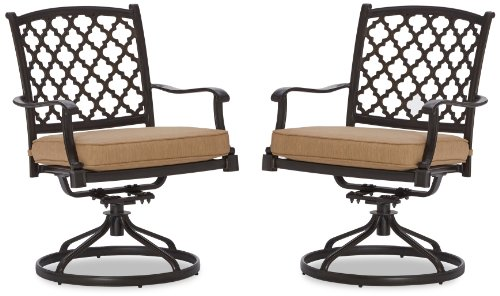Strathwood Whidbey Cast-Aluminum Swivel Dining Arm Chair, Set Of 2