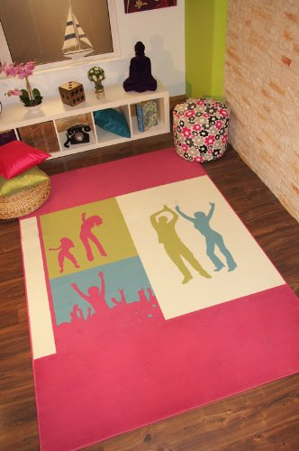 Florence Fuchsia Pink, Green, Blue  &  Ivory Dancers Rug 598 - 3 Sizes