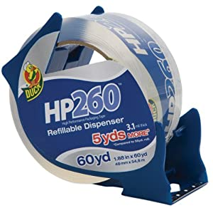 Duck Brand HP260 High Performance 3.1 Mil Packaging Tape with Dispenser, 1.88-Inch x 60-Yard Roll, Crystal Clear, Single Roll (393186)