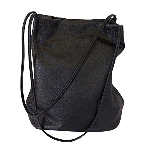Womens Retro Vintage Casual Hobo PU Borsa in pelle secchiello borsa a tracolla nera
