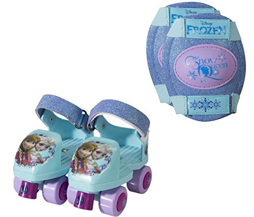 PlayWheels Disney Frozen Glitter Kids Roller Skates with Knee Pads - Junior Size 6-12