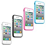 4 Pcs New Silicone Stylish Bumper Case Cover Fits For Apple iPhone 4 4S 4G