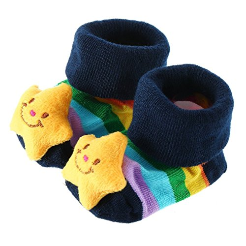 Xhan Baby Toddler Kids Infant Newborn Girl Boy Cute Three-Dimensional Cartoon Non-Slip Anti-Slip Slipper Socking Socks Slipper Shoes Boots 3D Bootie Socks 0-12 Month New Born (Star) front-878732