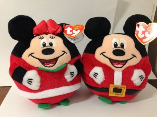 "NEW 2013 Ty Beanie Ballz Mickey Mouse & Minnie Mouse Christmas 5.5"" inches - 1"