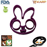 KARP™ Set Of 2 Rabbit Shape Silicone Fried Egg Mold Pancake Rings, Non Stick Bakeware Accessories Kitchen Tools...