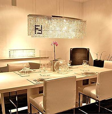 "Siljoy Modern Crystal Chandelier Dining Room Rectangular Chandeliers Lighting Island Pendant Lamp, H16"" x W32"" x Depth 8"", 4 Lights"