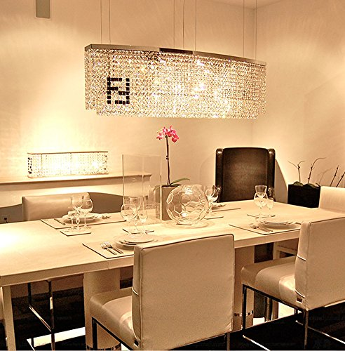siljoy modern crystal chandelier dining room rectangular chandeliers lighting island pendant lamp h16 x w32 x depth 8 4 lights - Rectangular Pendant Light Dining