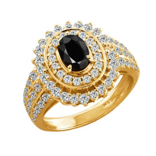 3.02 Ct Oval Black Sapphire Yellow Gold Plated Sterling Silver Woman's Ring