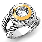 Double Cable Band Ring with Grade AAAAA CZ & Pave. 18K White Gold Plated - Size 6