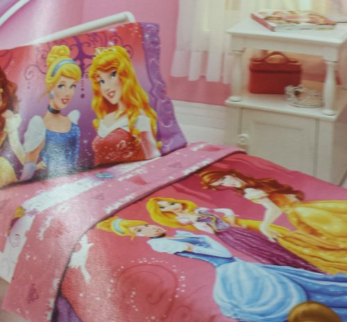 Disney Princess 4 Piece Toddler Bed Set Featuring Belle, Cinderella, Rapunzel, and Aurora - 1