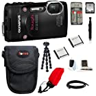 Olympus Stylus Tough TG-850 Digital Camera (Black) + 32GB Memory Card + Standard Large Digital Camera Case + Two Extra Batteries + Deluxe Accessory Kit