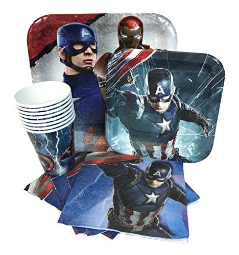 Marvel Captain America 3 Civil War Value Pack Birthday Party for 8 guests ( Plates, Cups, Napkins)