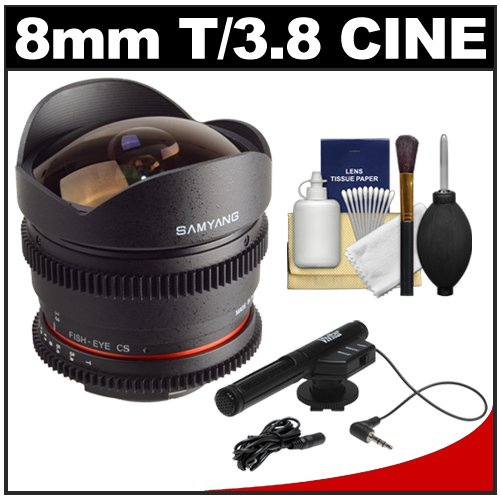 Samyang 8Mm T/3.8 Fisheye Cine Manual Focus Lens (For Dslr Video) With Microphone + Cleaning Kit For Nikon D3100, D3200, D5100, D7000, D600, D800, D4 Digital Slr Cameras