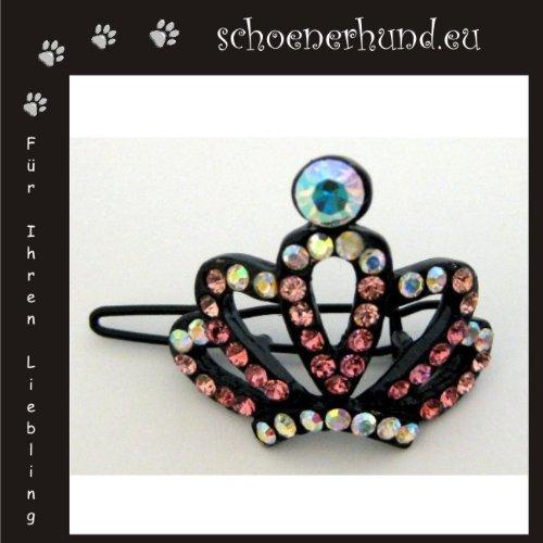 Artikelbild: Haarschmuck für Hunde mit funkelnden Strass - Exklusive Haarspange von Dogs Stars Antikkrone in rosa