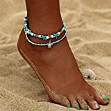 17mile Blue Starfish Turtle Anklet Multi-layer Charm Beads Sea Bench Handmade Boho Anklet Foot Jewelry Gifts for Women