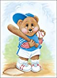 Sports Bear Baseball Star - Childrens Wall Art, 8 x 10