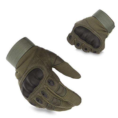 KevenAnna Full Finger Cycling Motorcycle Gloves Outdoor Tactical Gloves for Military Gear Men's Military Gloves for Army Tactical Gear (2-Army Green, Large)