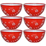 Cutting Edge Premium Microwaveable Soup Bowls, Set Of 6, Blossom Red