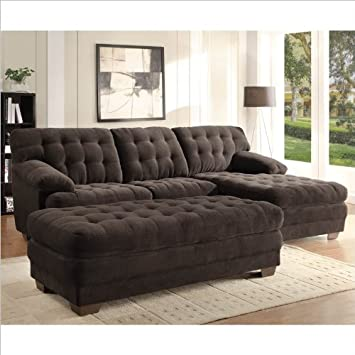 Homelegance Brooks Oversized Tufted 3 Piece Sectional in Chocolate