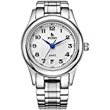 BUREI Women's Precise Quartz Wrist Watches with Date Calendar and Stainless Steel Bracelet