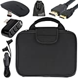 EEEKit 5 in 1 Starter Kit for RCA Cambio 10.1 2-in-1 Tablet, Carrying Briefcase Sleeve Handbag + 3 Port USB 2.0 Hub + 2.4G Wireless Mouse + Earphone + Mini HDMI Cable