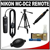 Nikon MC-DC2 Wired Remote Shutter Release Cord + Tripod + Nikon Cleaning Kit for D90, D3100, D3200, D5000, D5100 & D7000 Digital SLR Cameras