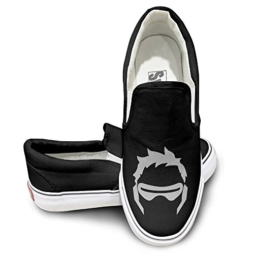 SUEPER Men's Soldier 76 Video Game Hero Fashion Classic Canvas Sneaker Shoes Sports Black 40 (Jurassic World Rubber Bracelets)