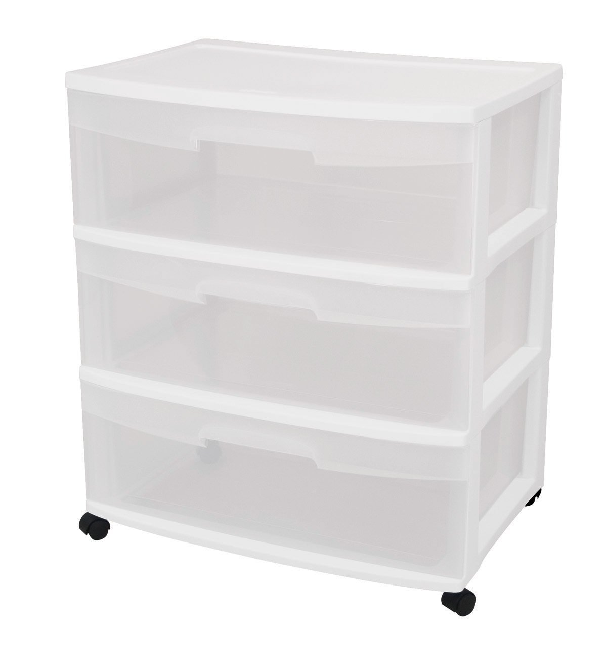 Sterilite 3-Drawer Wide Cart with See-Through Drawers, White