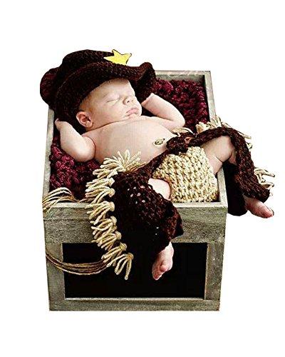 Liange Newborn Baby Photography Prop Crochet Knitted Cowboy Hat Diaper Pants