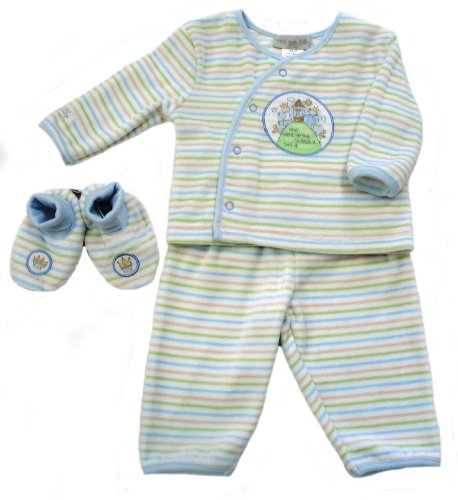 Max and Tilly Baby Boy 3 pce Gift set 0-3 months - Stripe Velour Jacket, Trouser and Booties